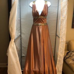 Jovani Formal Copper and Gold Evening Dress